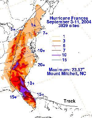 Hurricane Frances Rainfall - Hydrologic Prediction Center, NOAA
