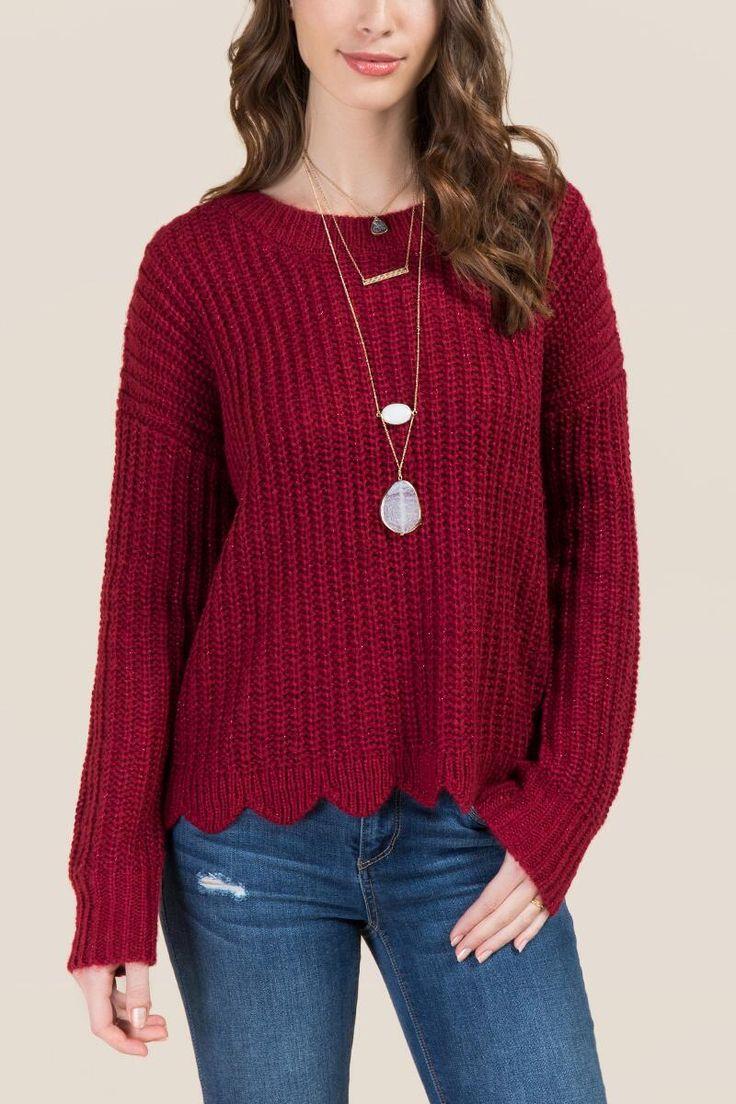 Marla Lurex Scalloped Hem Sweater | francesca's