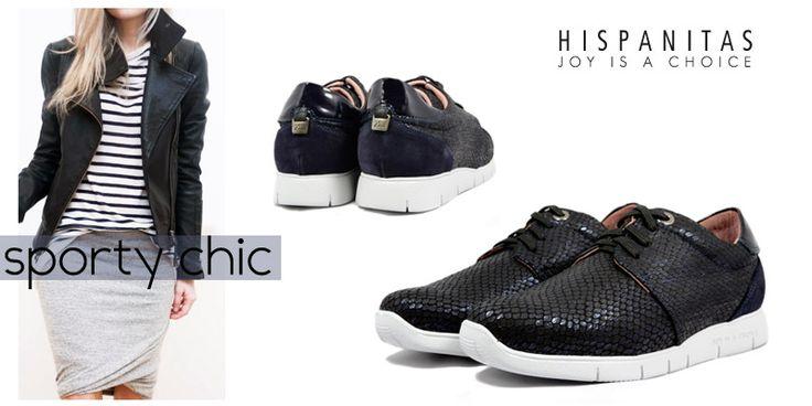 Daca esti adepta unui stil casual-sport sau esti impatimita dupa incaltamintea sport este aproape imposibil ca in acest sezon sa stai departe de pantofii #Hispanitas. Confectionata dintr-o piele cu o textura deosebita si cu o talpa foarte usoara, aceasta pereche de pantofi sport va fi perfecta pentru o tinuta impecabila. - dark blue sport shoes outfit -