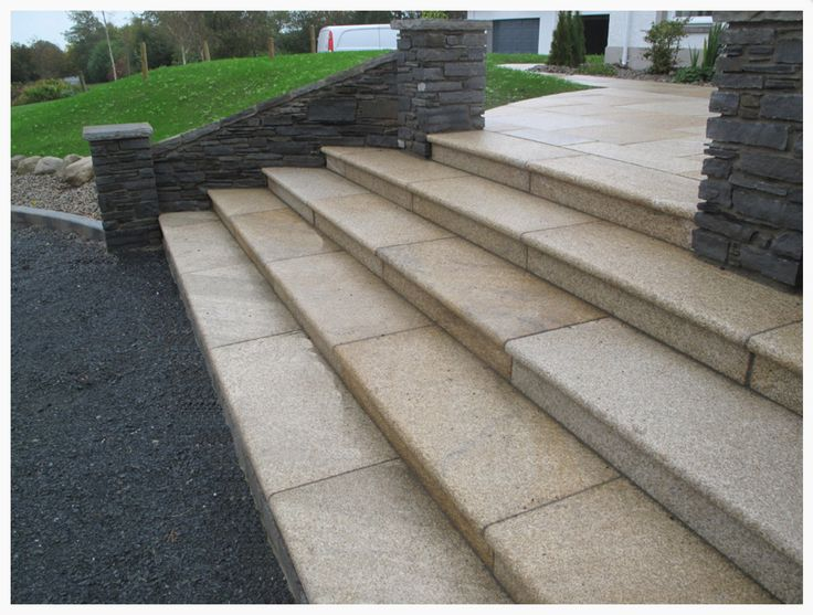 Summer #granite hammered surface used as stair treads and risers. Available in a square rebated edge or bullnose.