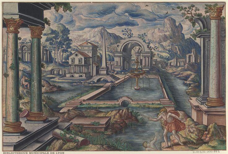 Narcissus by Peeter van der Borcht, 16th century. Bibliothèque Municipale De Lyon, Public Domain