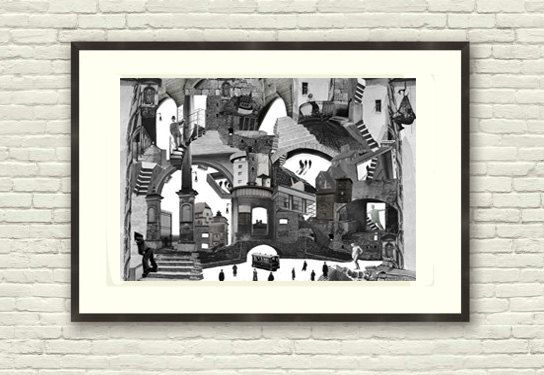 Fine Art Print / Art Poster / Collage / City / by BoWoStudio