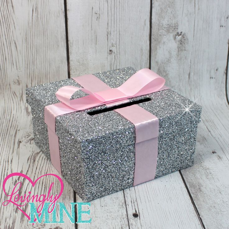 Mini Card Box -  Size 8 x 8 x 4 - Pink Ribbon & Glitter Silver -  Baby Shower, Bridal Shower, Birthday - Advise Box, Game Box, Raffle Box by LovinglyMine on Etsy