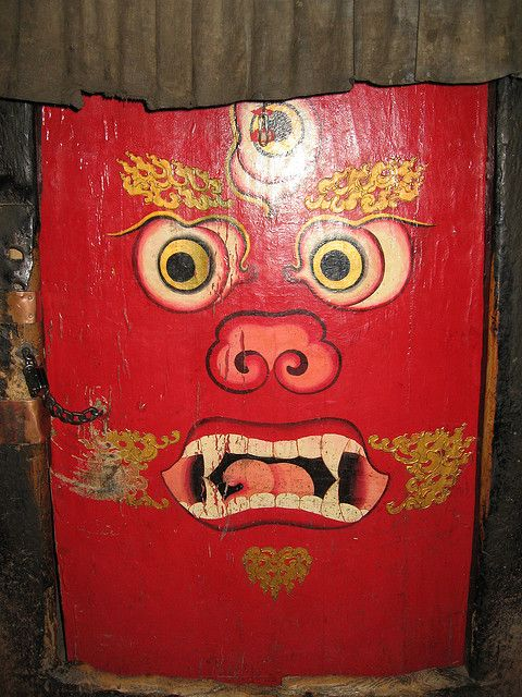 Red door with face. Tibet: Red Doors, Doors Knobs Knock, Tibetan Doors, Front Doors, Doors Doors Doors, Beautiful Doors, Tibetan Front, Doors With, Beautiful Tibetan