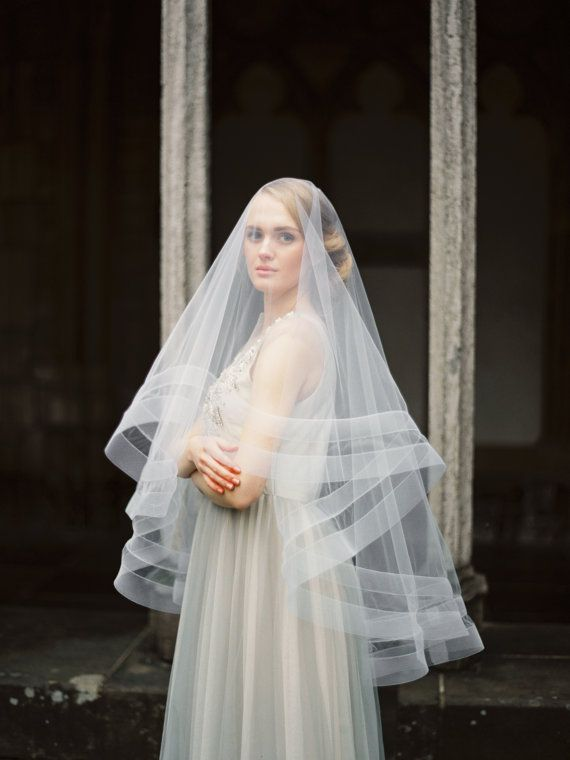 Double Horsehair Ribbon Veil With Blusher Wedding Bridal Circle