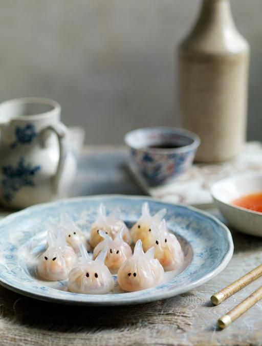 Har kau bunnies Prawn dumplings  Rabbits symbolise longevity, so these are fitting for the new year