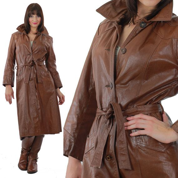 Brown Leather Coat Long leather wrap coat by SHABBYBABEVINTAGE