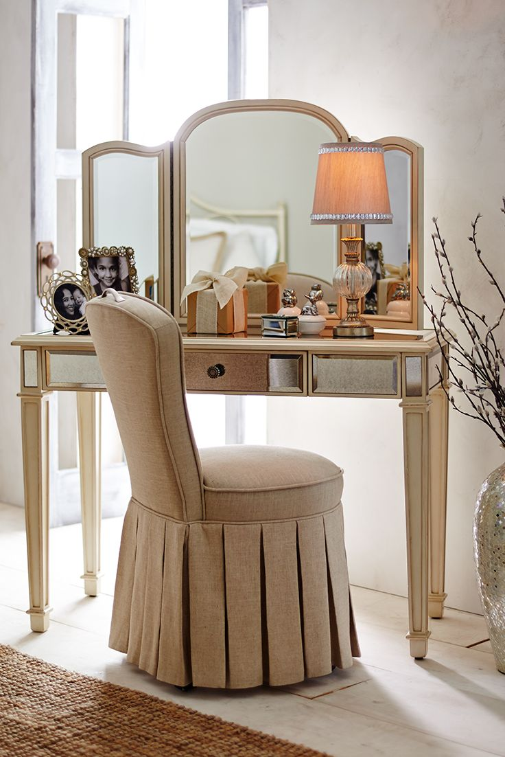 Reese Natural Skirted Vanity Chair Slipcovers For Chairs