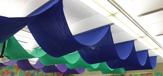 Classroom Decor Under The Sea ~ Classroom transformation fabric draped from the ceiling