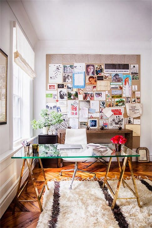 I love this table and space. That table, you have me at gold trestle. (credit: Poppytalk)