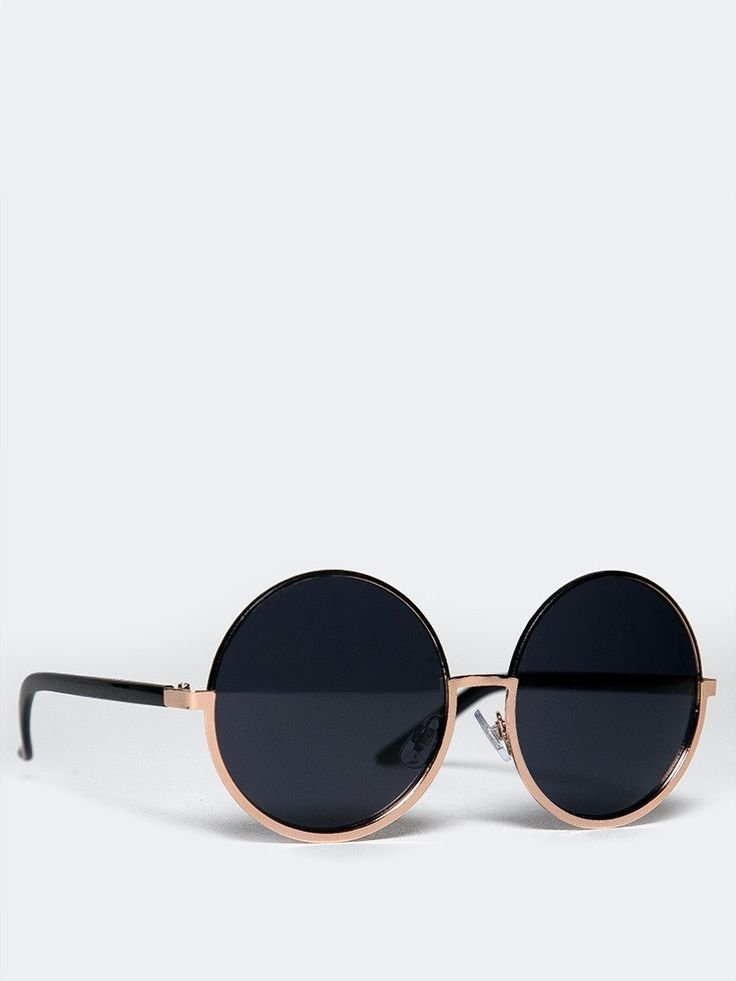 - These round, oversized sunglasses are just what your style is missing! - The ultimate everyday essential features a unique, metal frame at the bottom. - Color- Black Gold - Final Sale.