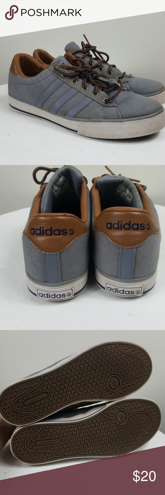Men's Comfort ADIDAS Neo Ortholite Mens Sneakers Adidas Neo with Comfort foam insole  Casual Grey blue steel Tennis shoes with Brown leather ankles   Barely worn the soles are in great condition. Had a few minor blemishes here and there. adidas Shoes Sneakers