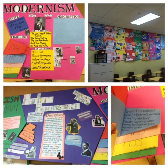Amazing student created American literature timeline, group research project, common core http://www.teacherspayteachers.com/Product/American-Literature-Movements-Poster-Project-From-Rationalism-to-Postmodernism-60391