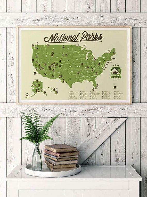 National Park Map Outdoor Explorer Gift Hiking Art Print Etsy National Parks Map National Parks Explorer Gift