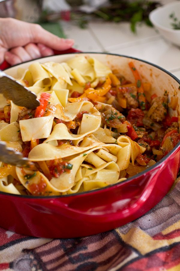 """Saucy, Italian """"Drunken"""" Noodles with Spicy Italian Sausage, Tomatoes and Caramelized Onions and Red and Yellow Bell Peppers, with Fresh Basil"""