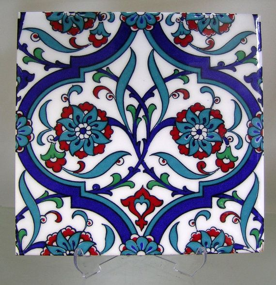 IZNIK CERAMIC TILE with Traditional Kutahya, Iznik designs for tabletops hatayis, rumis, spring blossoms, ottoman art, silk printed