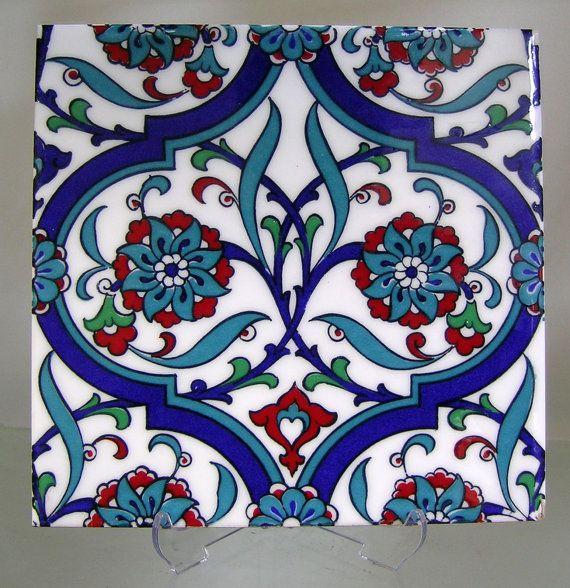 IZNIK CERAMIC TILE with Traditional Kutahya, Iznik designs for tabletops hatayis, rumis, spring blossoms, ottoman art, silk printed