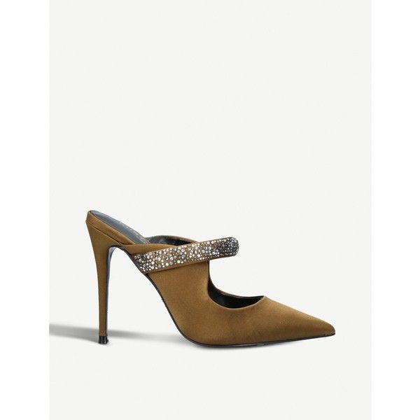 153998b85b KURT GEIGER LONDON Lexington satin heeled mules ($205) ❤ liked on Polyvore  featuring shoes