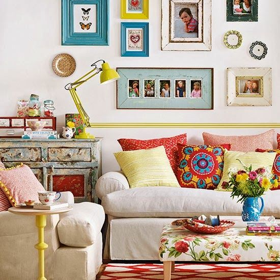 eclectic living room uk - Google Search 3rd picture picture , inspiration for a wall quilt , first in ages !
