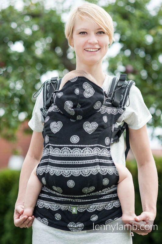 ERGONOMIC CARRIER, BABY SIZE, JACQUARD WEAVE 100% COTTON - WRAP CONVERSION FROM GLAMOROUS LACE - SECOND GENERATION