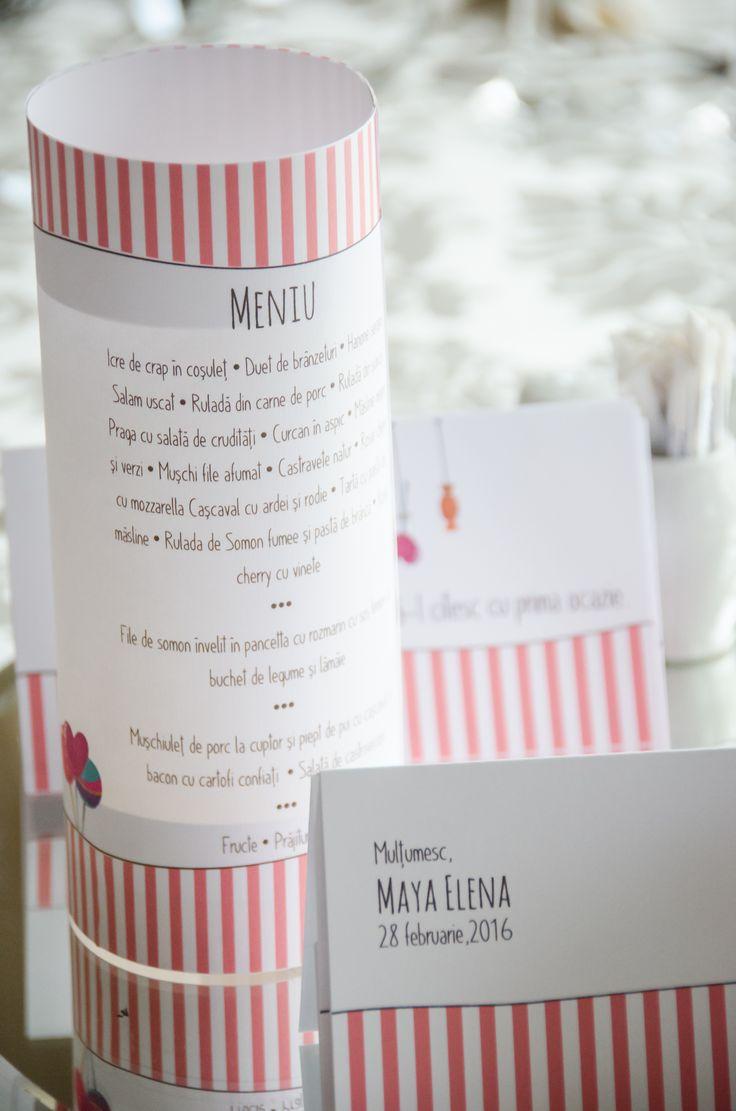 Meniurile personalizate în tematică, colorate şi decorate vor aduce un plus de eleganţă evenimentului tău.