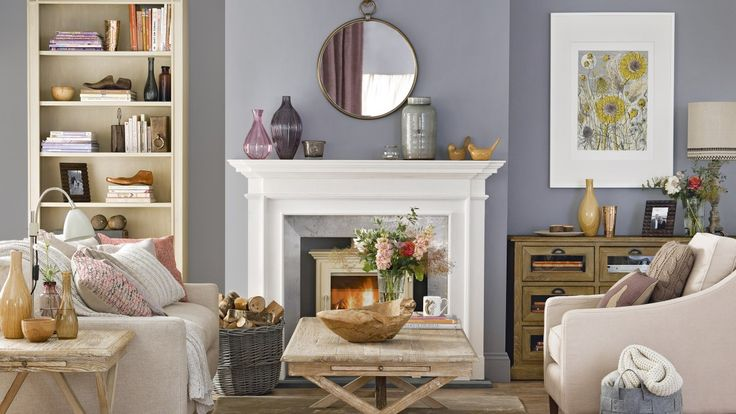 Traditional Living Room with Grey Walls and White Mantel