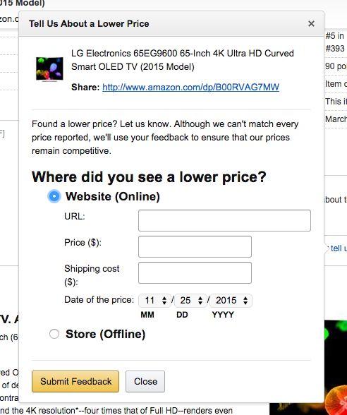 Amazon Price match