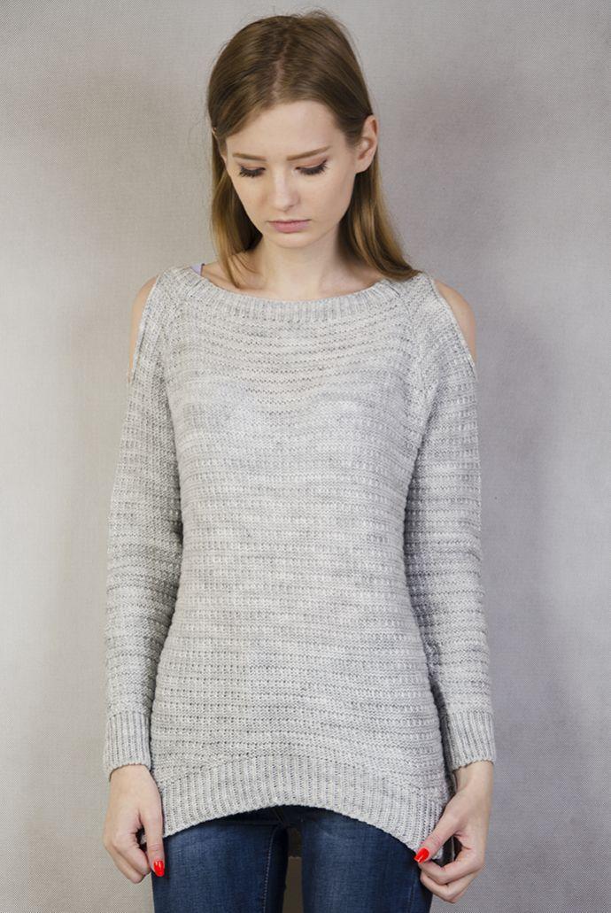 Szary sweterek z wycięciami na ramionach