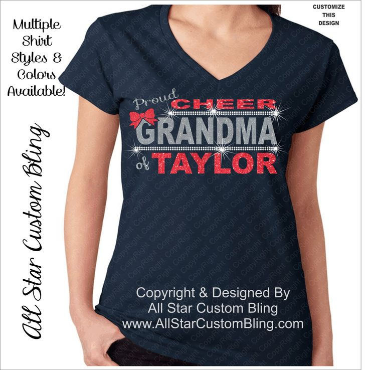 Custom Proud Cheer Grandma Bling Rhinestone Shirt, Cheer Grandma Bling Shirts, Bling Cheer Grandma, Custom Grandma Cheer Rhinestone Shirt by AllStarCustomBling on Etsy