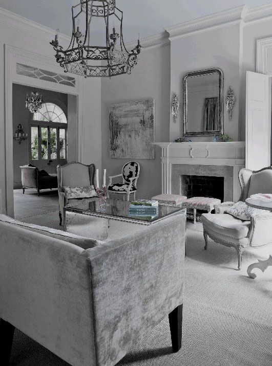 Dove Gray Home Decor ♅ living room in grey with velvet