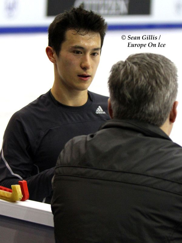 Patrick Chan warming up for the 2012 ISU World Figure Skating Championships in Nice, France.