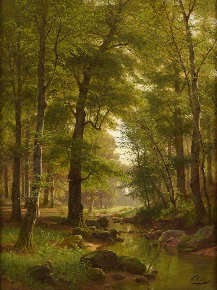 Ebel, Fritz 1835 Lauterbach   1895 Düsseldorf Bewaldete Landschaft Mit  Bachlauf. Signiert. Öl