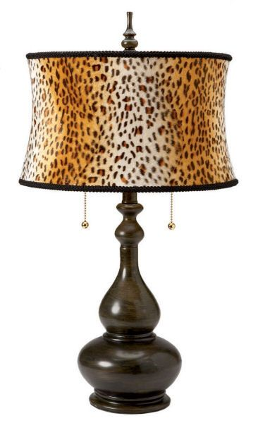 genie bottle table lamp with animal print shade