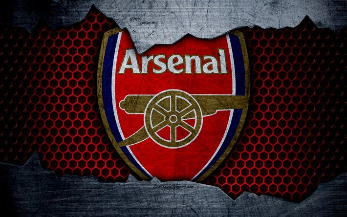 Download wallpapers Arsenal London, 4k, football, Premier League, emblem, Arsenal logo, football club, London, UK, metal texture, grunge