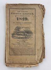 1829 antique NEW ENGLAND FARMERS ALMANAC boston ma HARVARD UNIVERSITY russell