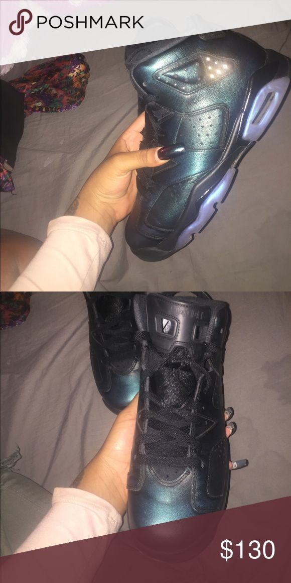 "Retro Jordan 6 ""all star"" black/blue jordan 6 retro ""all star"". size 7 boys grade school. Jordan Shoes Sneakers"