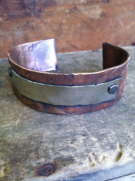 Men's Copper Cuff Bracelet  Rustic Rugged by OldeDogNewTricks, $40.00