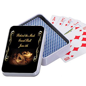 Our personalized Masquerade Ball Playing Card Cases feature your own custom message and gold Mardi Gras mask design accented with scrolls.