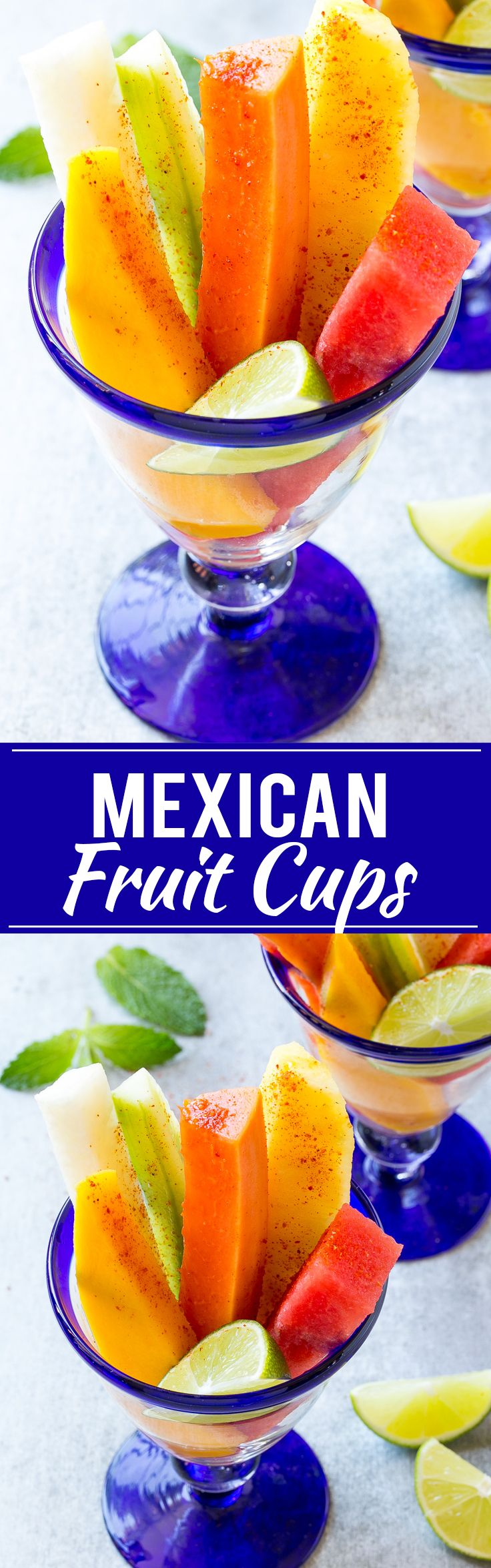 This recipe for Mexican fruit cups is spears of tropical fruit, stacked in a…