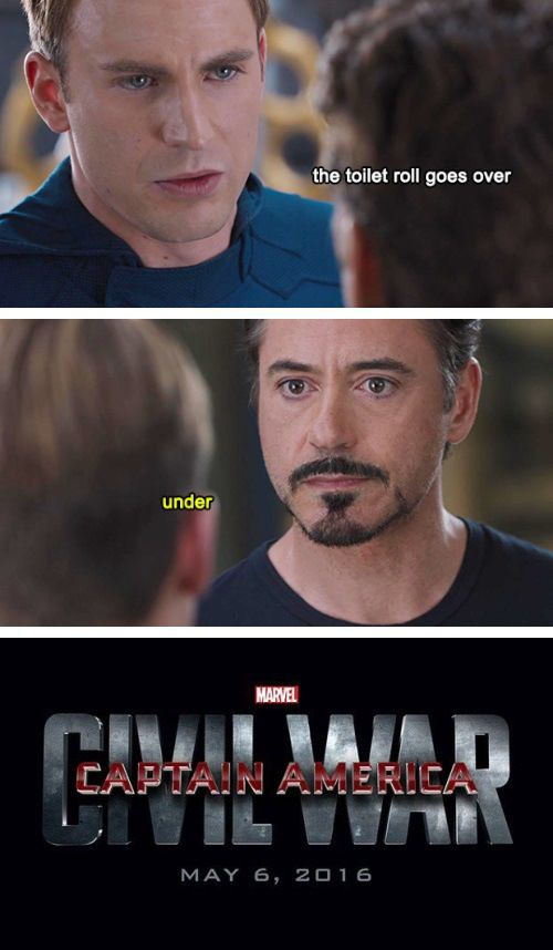 Over or under  #CivilWar<-- Gotta say I'm with Tony on this one. Sorry, Cap. #Under