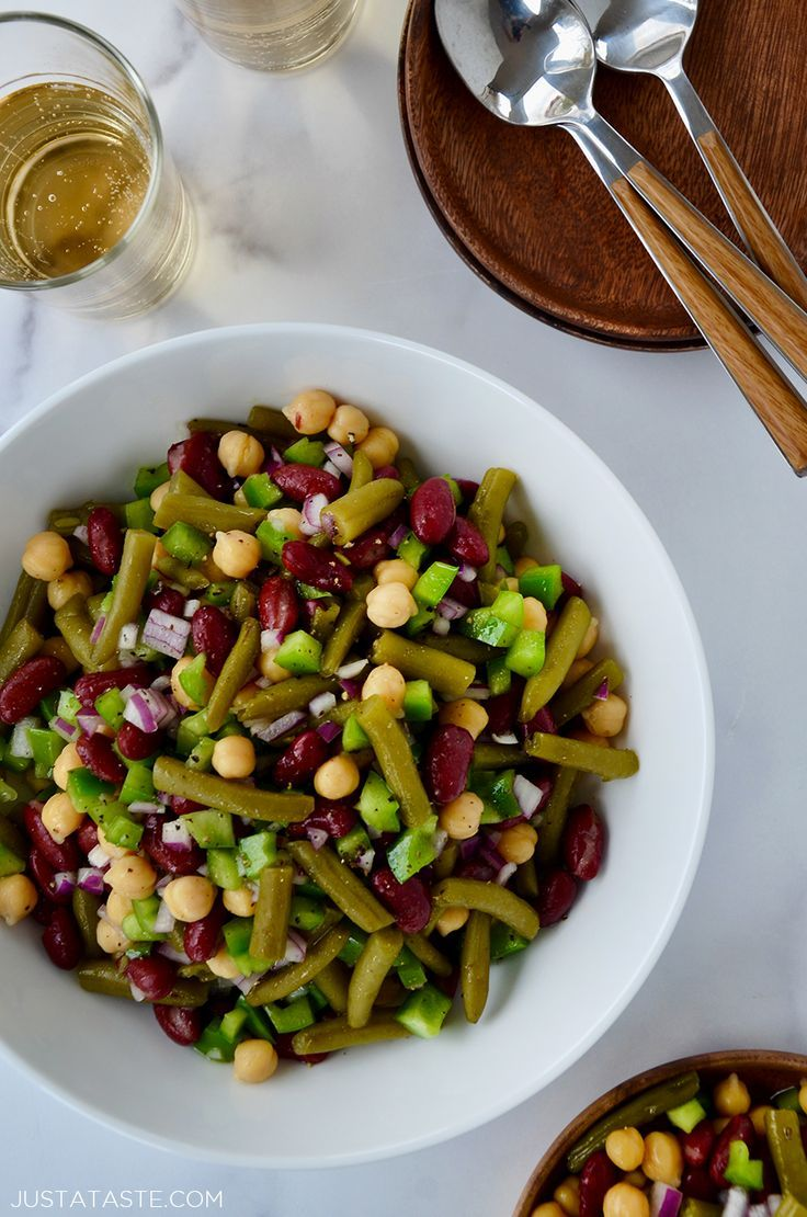 Classic Three Bean Salad Recipe In 2020 Three Bean Salad Recipes Bean Salad
