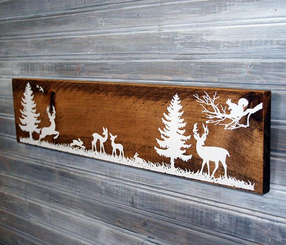 Woodland Deer Forest Wood Sign Rustic Wood Nursery Decor