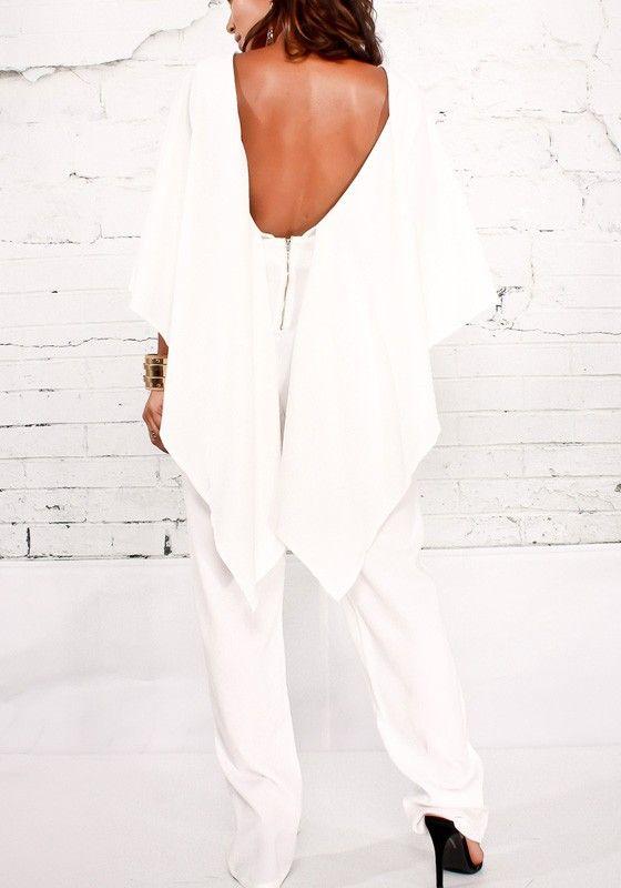 Combinaison cape avec poches décolleté dos nu élégant blanc femme -  Combinaisons - Bas 3a3d8a9fe8d