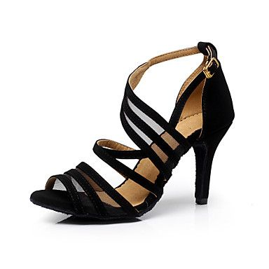 Customizable Women's Dance Shoes Flocking Flocking Latin / Dance Sneakers / Salsa Sandals Stiletto HeelPractice - USD $ 17.99
