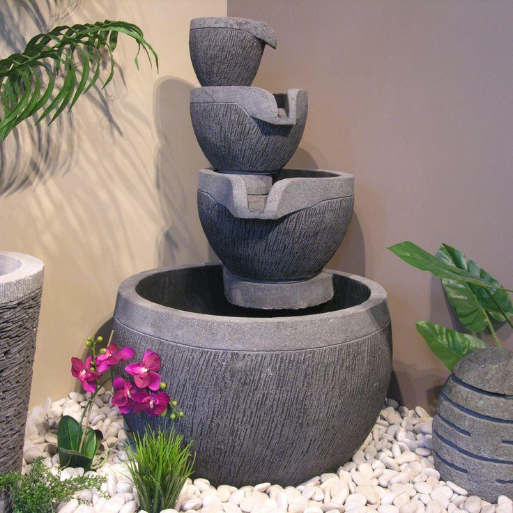 fontaine de jardin bassin rond 4 coupes noire grise fontaines amphores statues. Black Bedroom Furniture Sets. Home Design Ideas