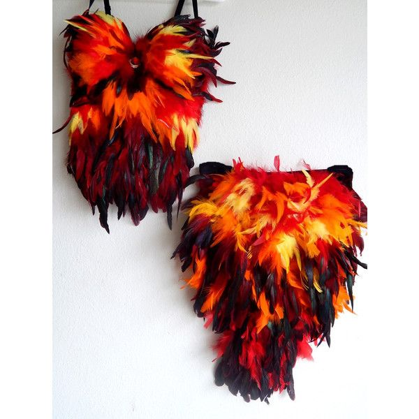 Phoenix FIRE Bird Costume Corset/Booty Tail Custom Made 4 U (685 BRL) ❤ liked on Polyvore featuring costumes, sexy gothic costume, sexy halloween costumes, feather costume, sexy costumes and sexy peacock halloween costume