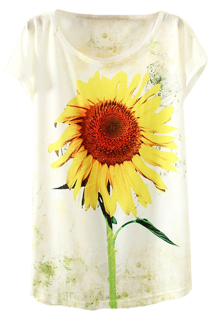 The Sunflower Print Drop Shoulder Cap Sleeves Summer Woman Tee come in sunflower print. Round neckline. Drop shoulder. Cap sleeves.
