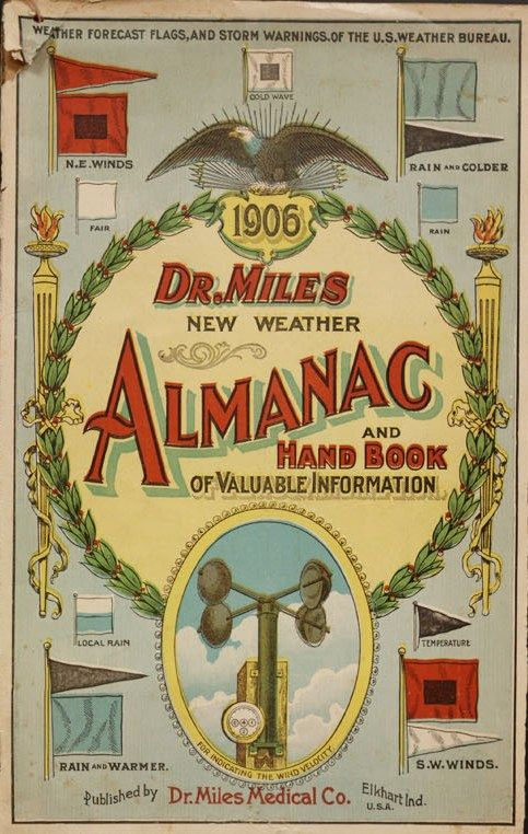 """Front cover of """"Dr. Miles new weather almanac and hand book of valuable information, 1906."""""""