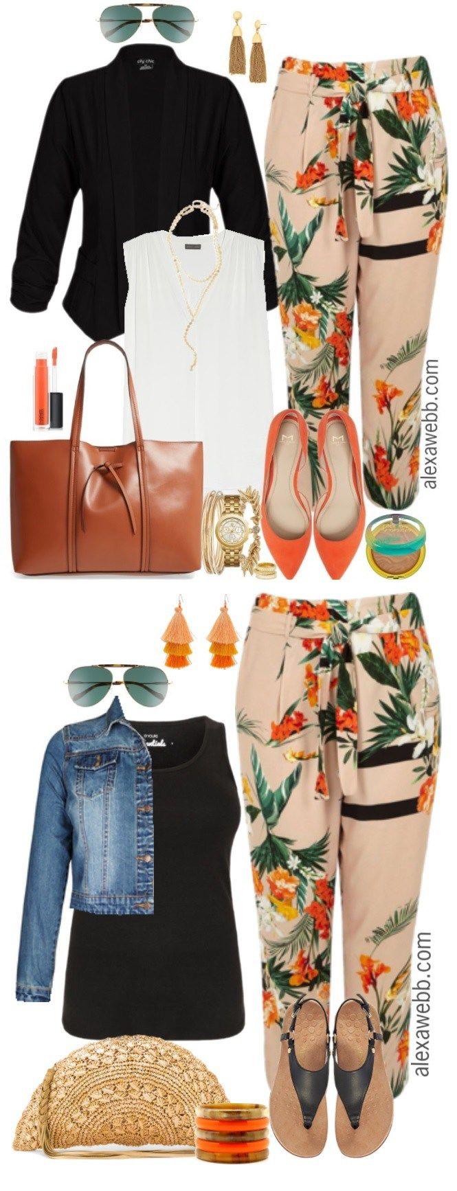 Plus Size Tropical Pants Outfits - Plus Size Spring Work Outfit - Plus Size Fashion for Women - alexawebb.com #alexawebb #plussize