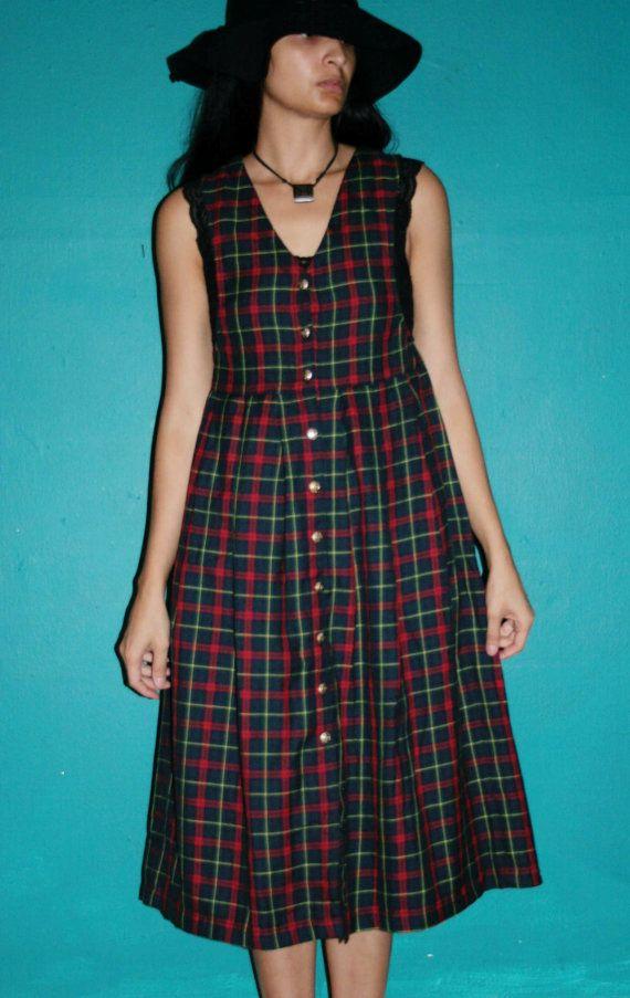 Vintage 90s Grunge PLAID Schoolgirl Pinafore DEEP ARMHOLES Seattle Jumper Midi Dress / 90s Tartan dress